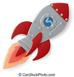 Space Rocket Ship Cartoon Paper Craft Style - A space rocket...