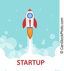 Space rocket ship starting the flight to the sky. Startup...