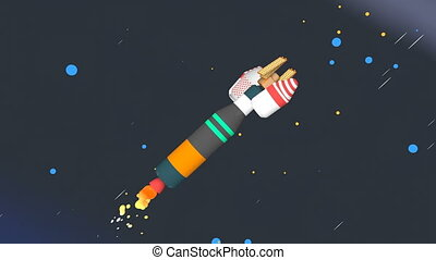 Space rocket stages separation animation.