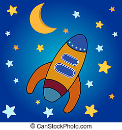 Space Rocket - Star background with moon, stars and space...
