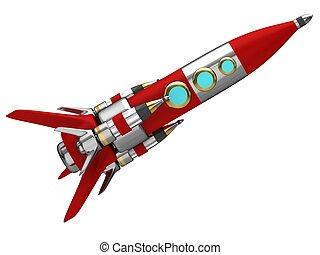 Steel stylized space rocket