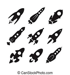 Space rocket vector icon set - Space rocket monochrome...