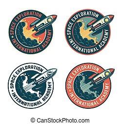 Space rocket vintage badge. Spaceship launch retro emblem. ...