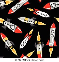 Space rockets in a seamless pattern