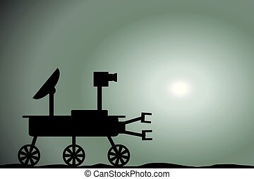 Space rover icon on Martian sunset. - Space rover icon on...