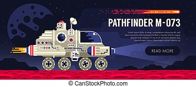 Space rover on red planet surface. Exploring an alien...