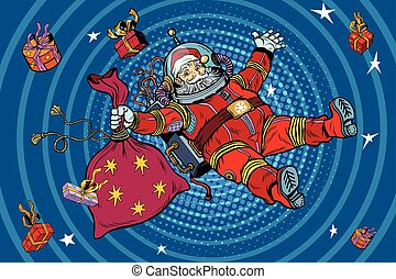 Space Santa Claus in zero gravity with Christmas gifts, pop art retro vector illustration. Blue cartoon circles background radiation