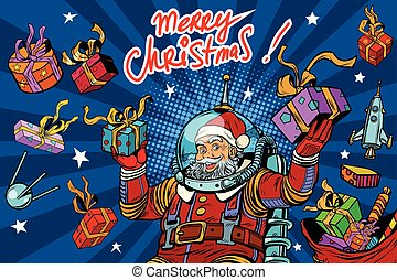 Space Santa Claus in zero gravity with Christmas gifts, pop...