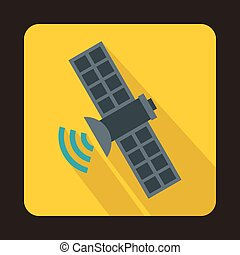Space satellite icon in flat style