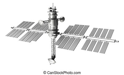 Space satellite , isolated on white