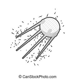 Space satellite of  Earth on a white background. Vector illustration.