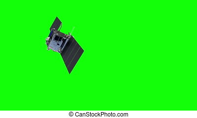 Space Satellite On Green Screen