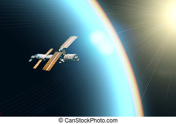 Space satellite orbiting the blue planet