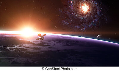 Space satellite orbiting the earth. Elements of this image ...