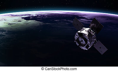 Space satellite orbiting the earth. Elements of this image furnished by NASA