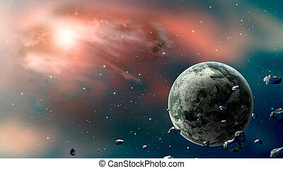 Space scene. Blue and blue nebula with planet and asteroids. Elements furnished by NASA. 3D rendering