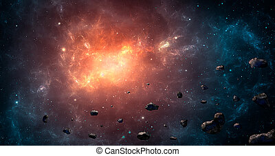 Space scene. Blue and orange nebula with asteroids. Elements furnished by NASA. 3D rendering