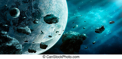 Space scene. Blue nebula with asteroids and two planet. Elements furnished by NASA. 3D rendering