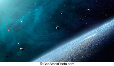 Space scene. Blue nebula with planet in front. Elements furnished by NASA.