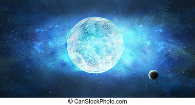 Space scene. Blue star and nebula with small planet in front. Elements furnished by NASA