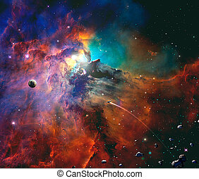Space scene. Colorful nebula with planet, spaceship and asteroids. Elements furnished by NASA. 3D rendering