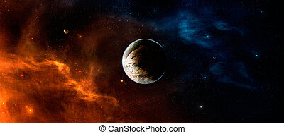 Space scene. Orange and blue nebula with planet in middle. Elements furnished by NASA