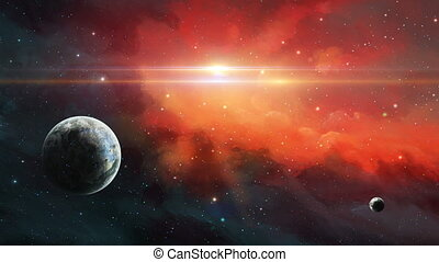 Space scene. Two planet in space with red nebula. Elements furnished by NASA. 3D rendering