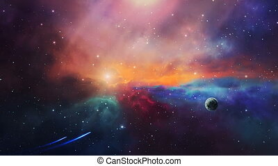 Space scene. Two small spaceship fly in colorful nebula with planet. Elements furnished by NASA. 3D rendering
