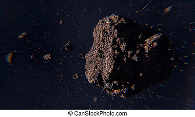 Space scene with asteroids