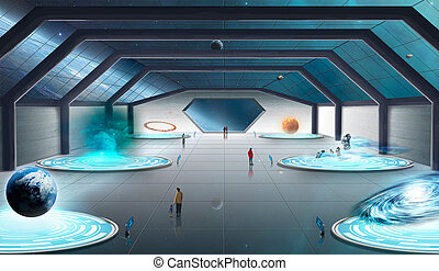 Space scene with nebula and planet. Elements furnished to NASA