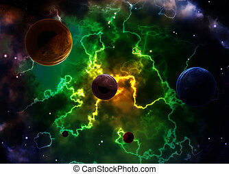 Space scene with planets and nebula - A beautiful space ...