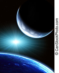 Space scene with two planets