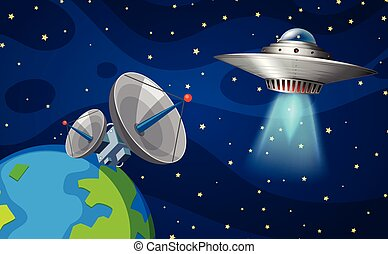 Space scene with UFO