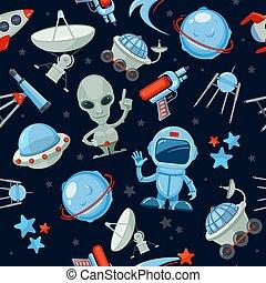 Space seamless background. Astronaut alien UFO ship