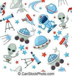 Space seamless pattern. Astronaut alien UFO ship