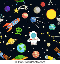 Space and astronomy decorative symbols seamless pattern vector illustration