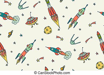Space seamless pattern with rockets and spaceships. Hand drawn vector illustration.