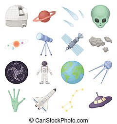 Space set icons in cartoon style. Big collection of space vector illustration symbol.