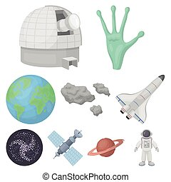 Space set icons in cartoon style. Big collection of space vector symbol stock illustration