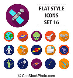Space set icons in flat style. Big collection space bitmap,raster symbol stock illustration