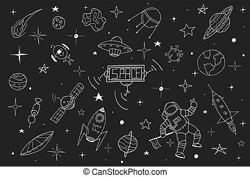 Space set in doodle style. Hand drawn