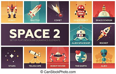 Space - set of flat design infographics elements