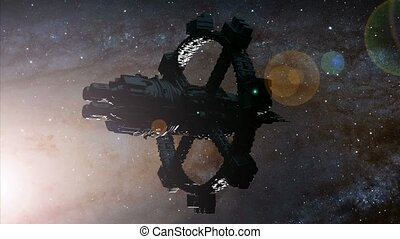 space ship and Milky Way stars. Elements of this image furnished by NASA