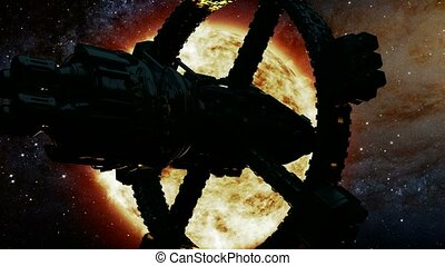 Space Ship and Sun Star. Elements of this image furnished by NASA