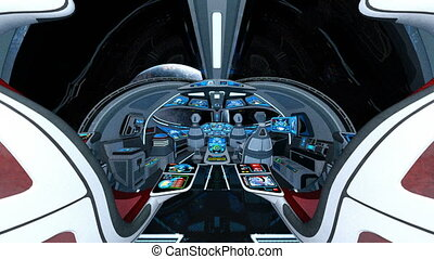 Space ship cockpit - 3D CG rendering of the space ship...