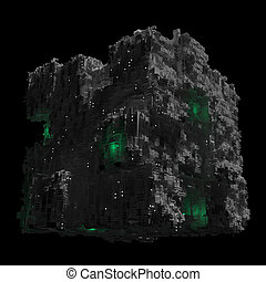 Space ship cube with black background and green lights