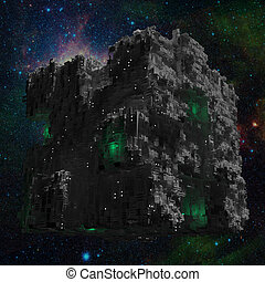 Space ship cube with galaxy background and green lights