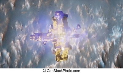 space ship near the Mars planet. Elements furnished by NASA