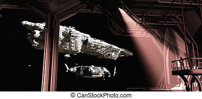 Space Ships Leaving Titan Docks