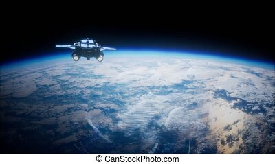 Space Shuttle above the Earth. Elements of this image...